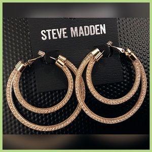 🏷 NEW Steve Madden Double Hoop Gemstone Earrings